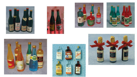 12th scale dollhouse miniature assorted bottles of drink