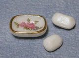 1/12 scale dollshouse miniature toilet brush soap dish, perfume jar