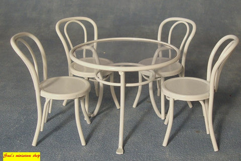 1:12 scale dollhouse miniature patio table and chairs