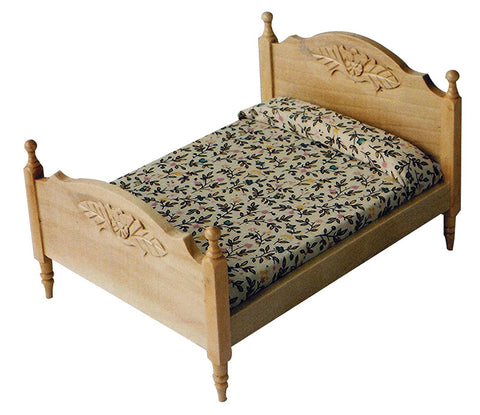 12th scale dollhouse miniature modern double bed