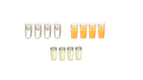 12th scale dollshouse miniature set of 4 glasses filled