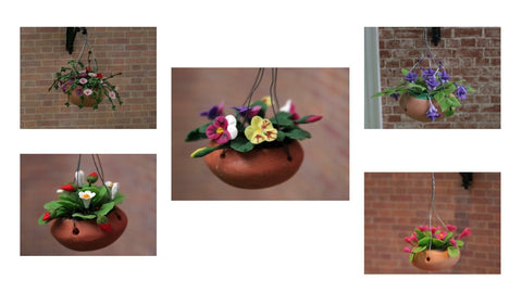 12 scale dollhouse miniature hanging basket with flowers