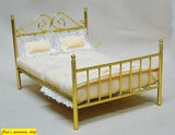 12th scale dollhouse miniature metal double bed 5 colours to choose from