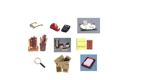 12th scale dollhouse miniature  items for an office/study