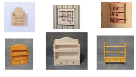 1/12 scale dollhouse miniature selection of wall shelves