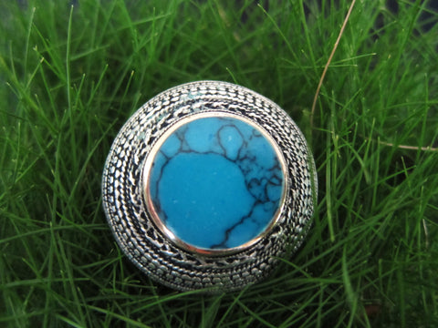 Tribal Ring - Aztec Sun - Turquoise-20mm-Size 10/T - SeaCircus Collections  - 1