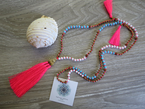 Indian Pohaku Tassel Necklace - Candy Pink - SeaCircus Collections  - 1