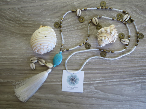 Sea + Salt -Kaleho Tassel Necklace - White - SeaCircus Collections  - 1