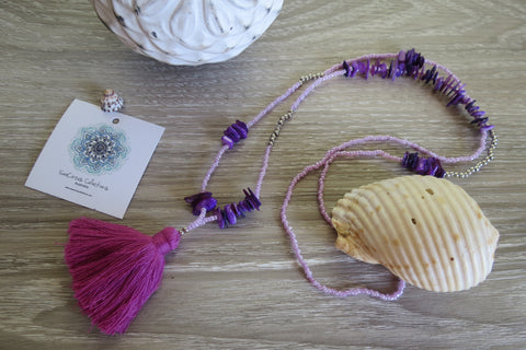Lua Pele Tassel Necklace - Violet - SeaCircus Collections  - 1