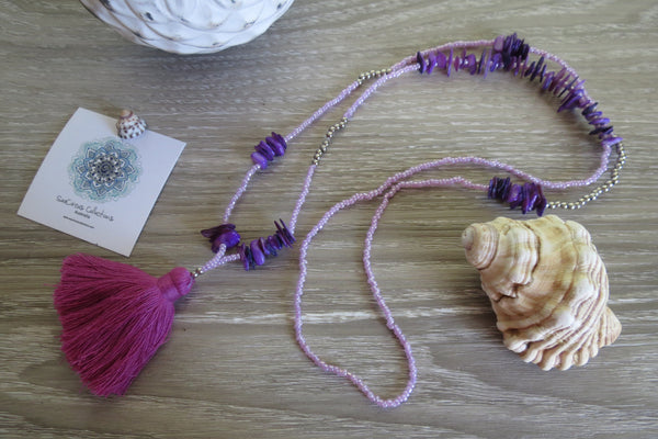 Lua Pele Tassel Necklace - Violet - SeaCircus Collections  - 3