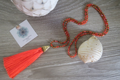 Indian Luau Tassel Necklace - Orange - SeaCircus Collections  - 1