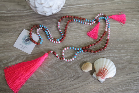 Indian Máhoe Tassel Necklace - Pink - SeaCircus Collections  - 1