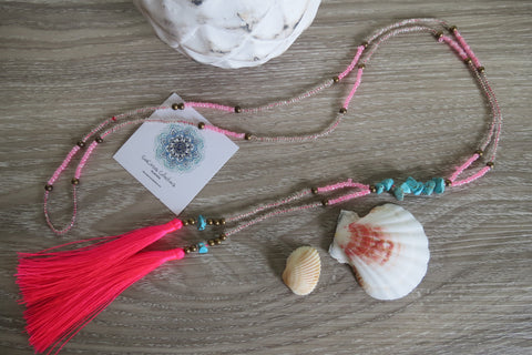 Maui Tassel Necklace - Pink - SeaCircus Collections  - 2