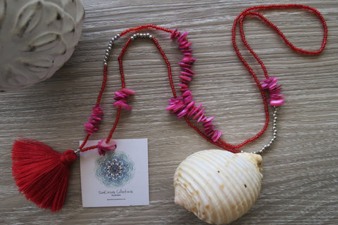 Lua Pele Tassel Necklace - Blush - SeaCircus Collections  - 1