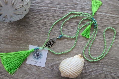 Maile Vine Tassel Necklace - Luscious Lime - SeaCircus Collections  - 1