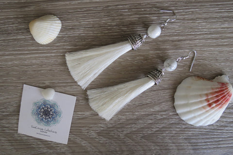Long Tassel Earrings - White - SeaCircus Collections  - 1