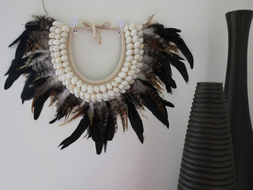 Tribal Collar - Baby's Ear Shell + Feathers - Leopard Black