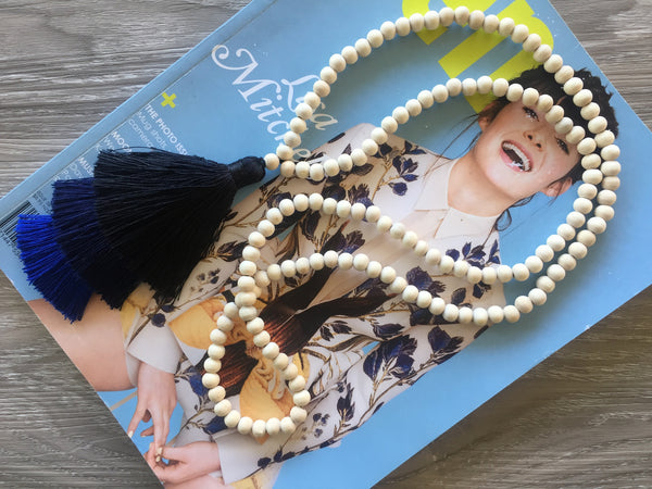 Tassel Necklace - Desert Heart - Navy Ombre