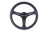 NARDI CLASSIC 340MM STEERING WHEEL - BLACK PERFORATED LEATHER / GREY STITCH