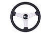 NARDI CLASSIC 360MM STEERING WHEEL - BLACK LEATHER / SILVER SPOKES / GREY STITCH
