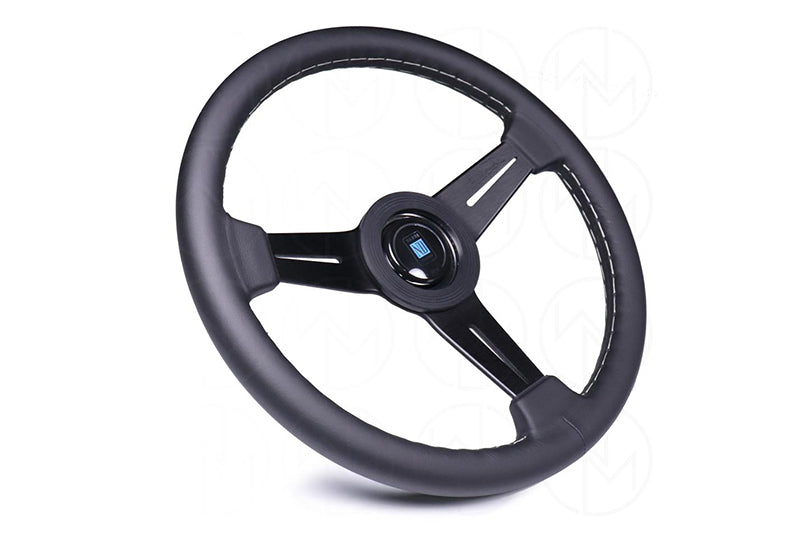 NARDI CLASSIC 330MM STEERING WHEEL - BLACK LEATHER / GREY STITCH