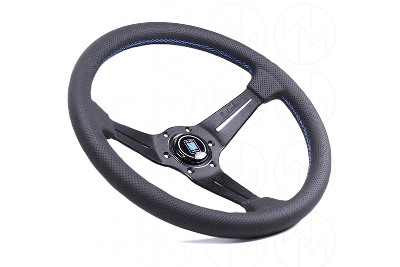 NARDI SPORT RALLY DEEP CORN STEERING WHEEL - 350MM PERFORATED LEATHER / BLUE STITCH