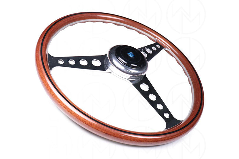 NARDI CLASSIC WOOD ANNI 60 360MM STEERING WHEEL W/ POLISHED ROUND HOLE SPOKES