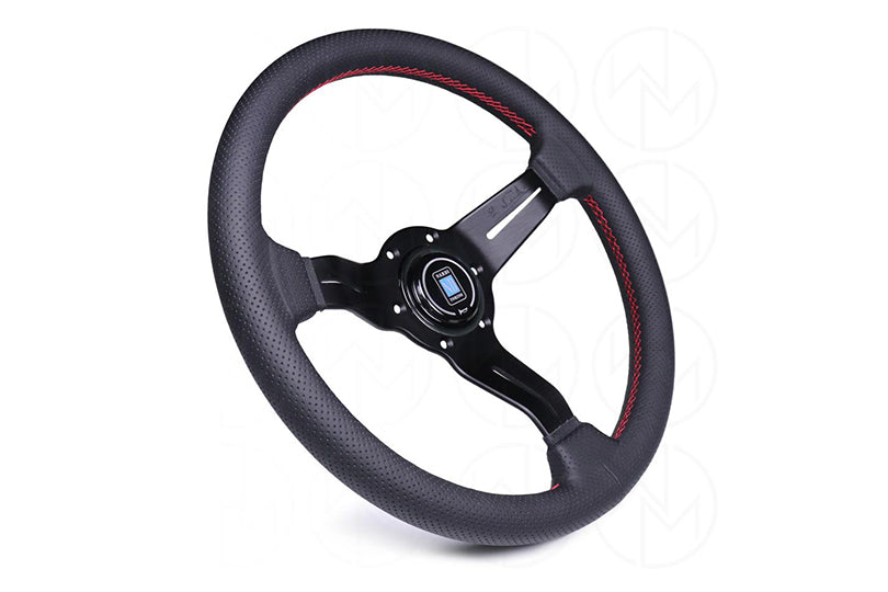 NARDI SPORT RALLY DEEP CORN 330MM STEERING WHEEL - BLACK PERFORATED LEATHER / RED STITCH