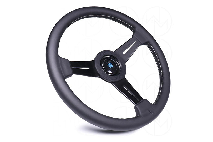 NARDI CLASSIC 360MM STEERING WHEEL - BLACK LEATHER / GREY STITCH