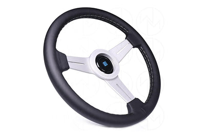 NARDI CLASSIC 340MM STEERING WHEEL - BLACK LEATHER / SILVER SPOKES / GREY STITCH