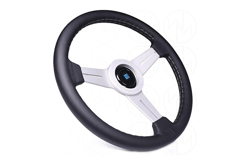 NARDI CLASSIC 330MM STEERING WHEEL - BLACK LEATHER / SILVER SPOKES / GREY STITCH