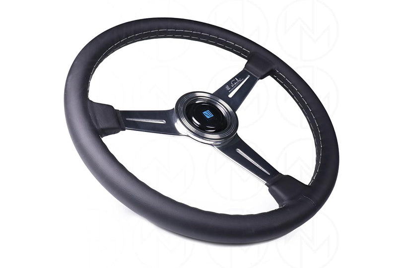 NARDI CLASSIC 360MM STEERING WHEEL - BLACK LEATHER / POLISHED SPOKES / GREY STITCH