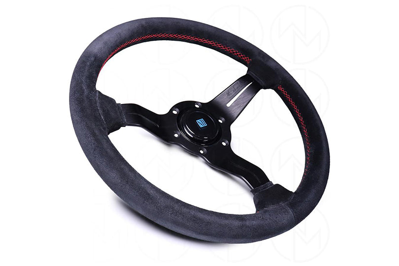 NARDI DEEP CORN SPORT RALLY STEERING WHEEL W/ SILVER SPOKES - 330MM BLACK SUEDE / RED STITCH