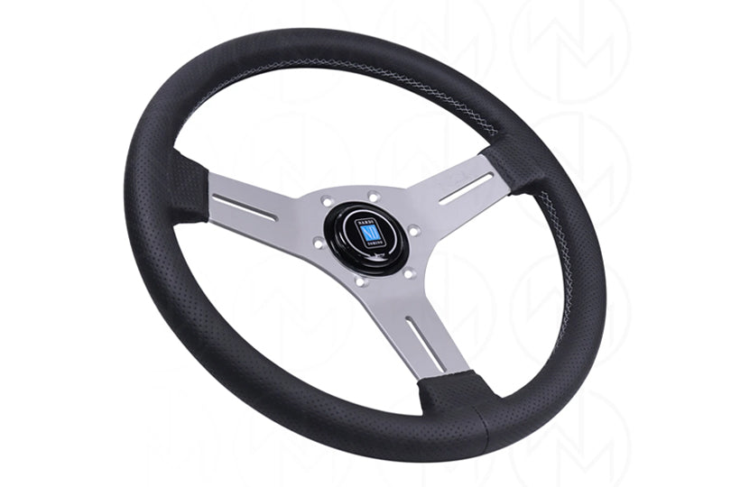 NARDI COMPETITION 330MM STEERING WHEEL - BLACK PERFORATED LEATHER / SATIN SILVER SPOKES / GREY STITCH