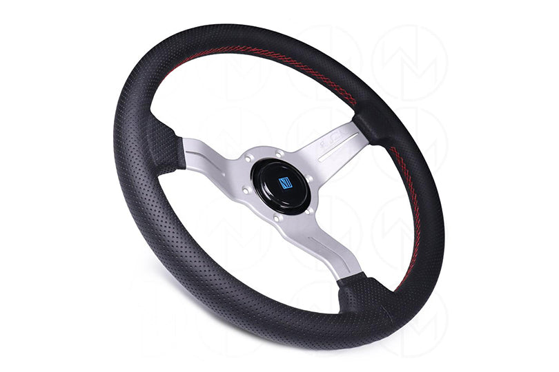 NARDI DEEP CORN SPORT RALLY STEERING WHEEL W/ SILVER SPOKES - 330MM PERFORATED LEATHER / RED STITCH
