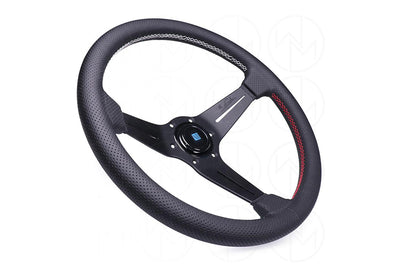 NARDI SPORT RALLY DEEP CORN QUAD STEERING WHEEL - BLACK PERFORATED / RED/GREEN/WHITE STITCH