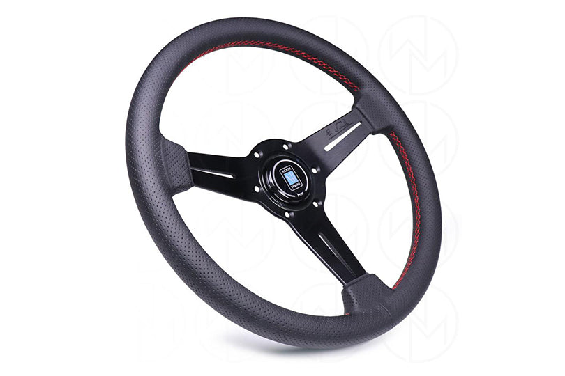 NARDI CLASSIC 360MM STEERING WHEEL - BLACK PERFORATED LEATHER / RED STITCH