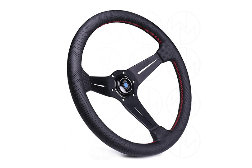 Nardi Steering Wheel Deep Dish Corn Racing 350mm Black Leather Type A Horn