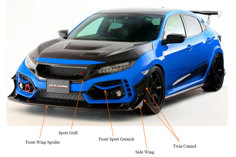 J's Racing Front Sports Grill (Carbon Fiber) - 2017+ Civic Type R (FK8)