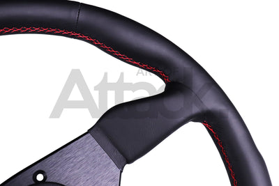 Personal Grinta Steering Wheel - 330mm-350mm / Leather / Red Stitching