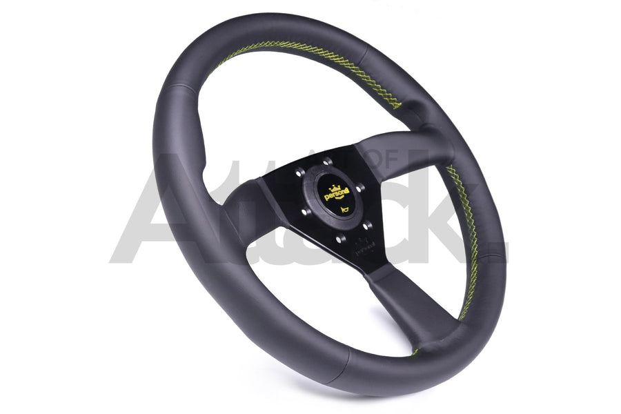 Personal Grinta Steering Wheel - 330mm-350mm / Leather / Yellow Stitching