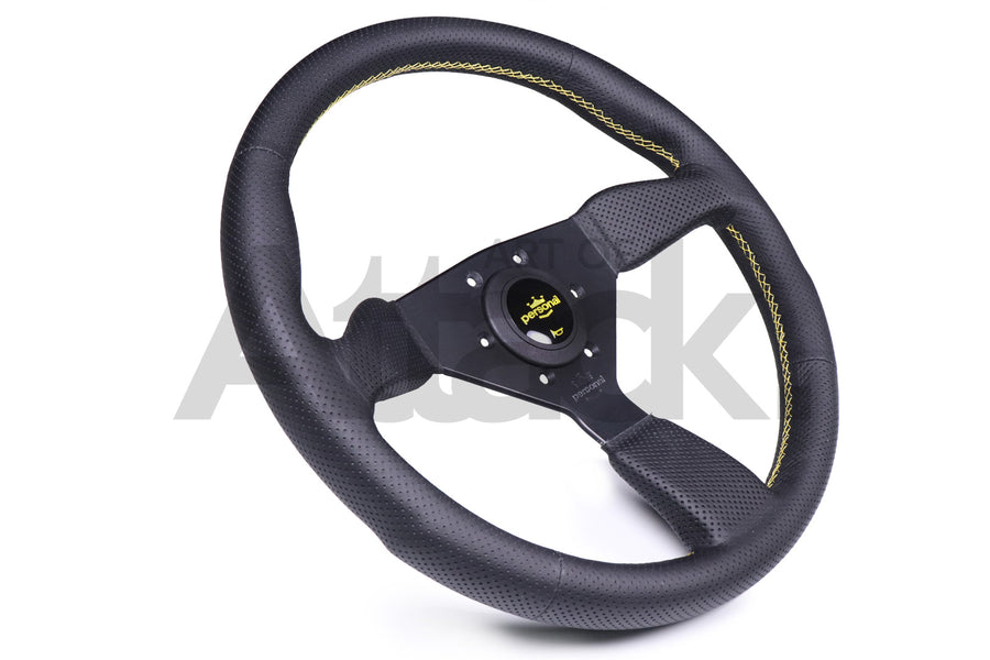 Personal Grinta Steering Wheel - 350mm / Perforated Leather / Yellow Stitching