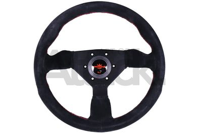 Personal Grinta Steering Wheel - 330mm-350mm / Suede / Red Stitching