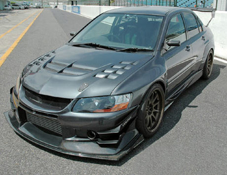 Voltex Cyber Street Carbon Lip with Splitter - 03-06 Mitsubishi EVO 8 / 9
