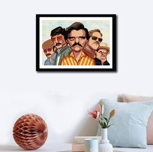 Wall decor with Framed Caricature Art Poster of Narcos Television Series. Vector Art by Prasad Bhat showing the entire cast of the show in their caricature form.