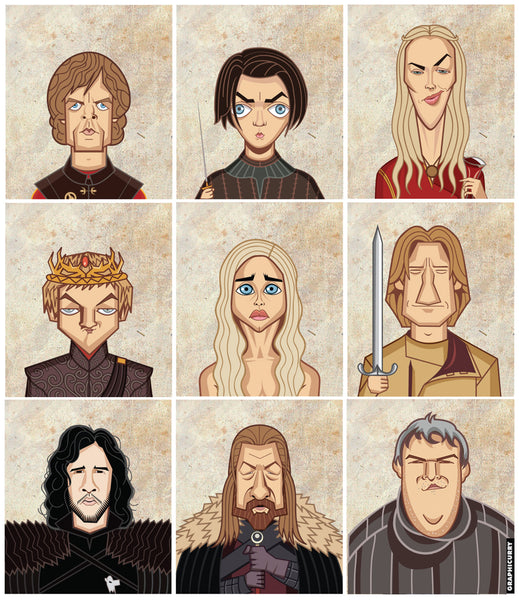 One view of the 3D lenticular poster of GOT Tribute by Prasad Bhat. It shows all the major characters in a square composition in the after avatars.