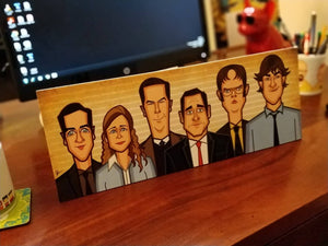 Tribute art by Prasad Bhat to all the Office characters kept with back stand