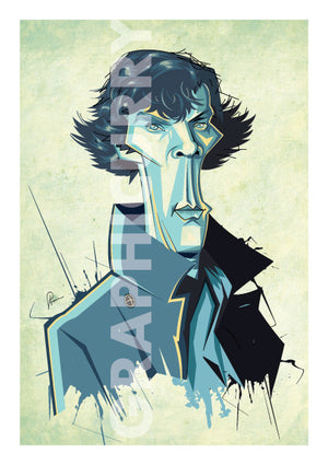 Poster of Sherlock Tribute artwork by Prasad Bhat. A slender pose of Sherlock looking into the front with his usual charming appeal and a grey trench coat.
