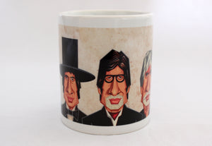 Amitabh Bachchan Caricature Art Mug by Prasad Bhat. The Mug Shows various avatars of the actor.