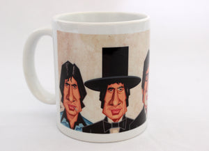 Amitabh Bachchan Caricature Art Mug by Prasad Bhat. The Ceramic Mug Shows various avatars of the actor.